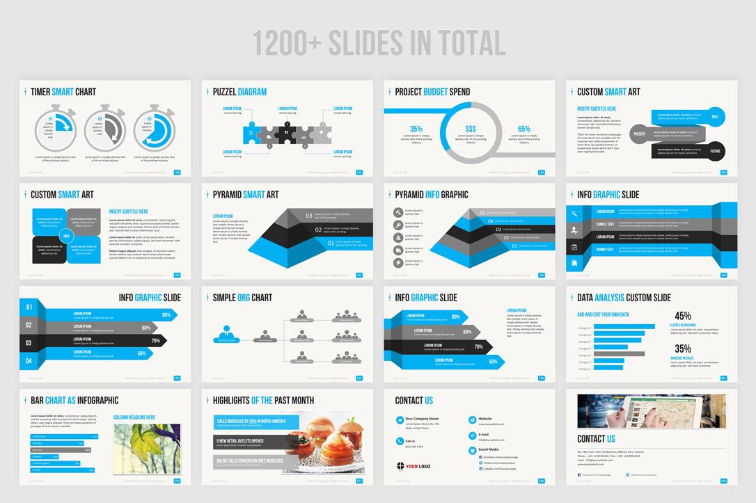 Best blue color PowerPoint templates bundle