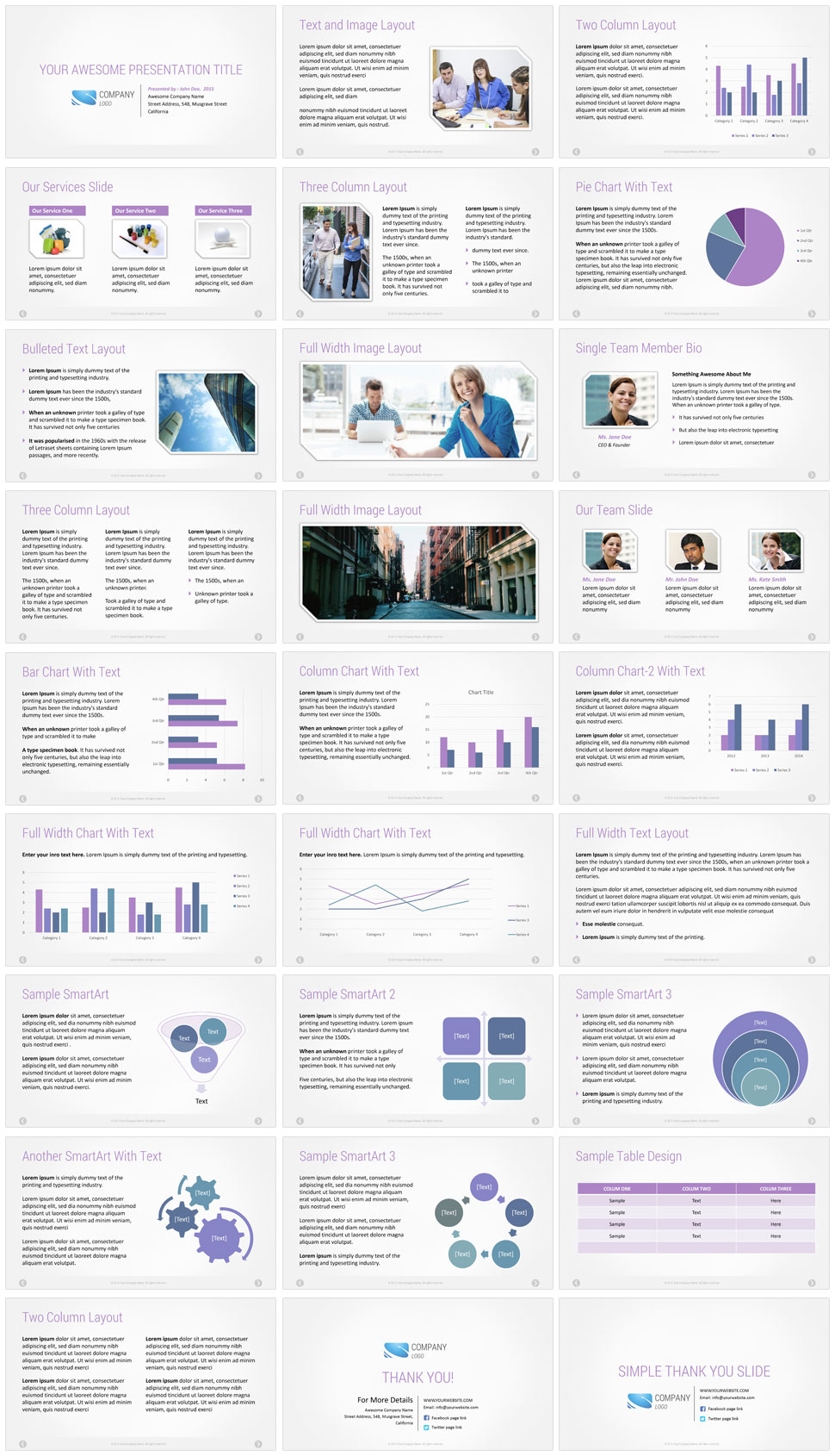 Company presentation template purple color