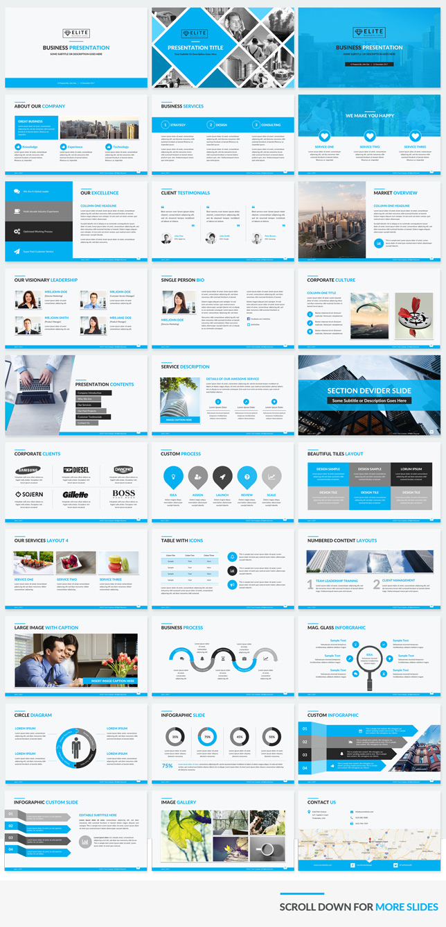 Elite corporate powerpoint template makes your presentation slides corporate powerpoint template blue color preview wajeb Images
