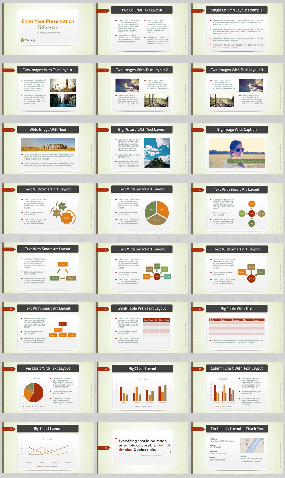 Green Business Powerpoint Templates Preview Sllides