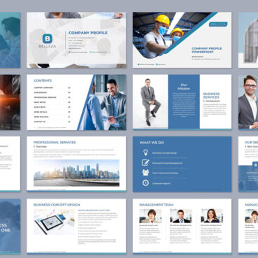 Professional powerpoint template - bellezza blue