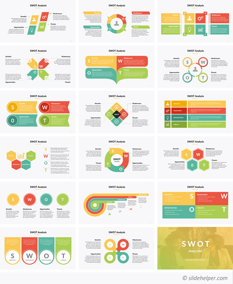 SWOT analysis template PowerPoint diagrams