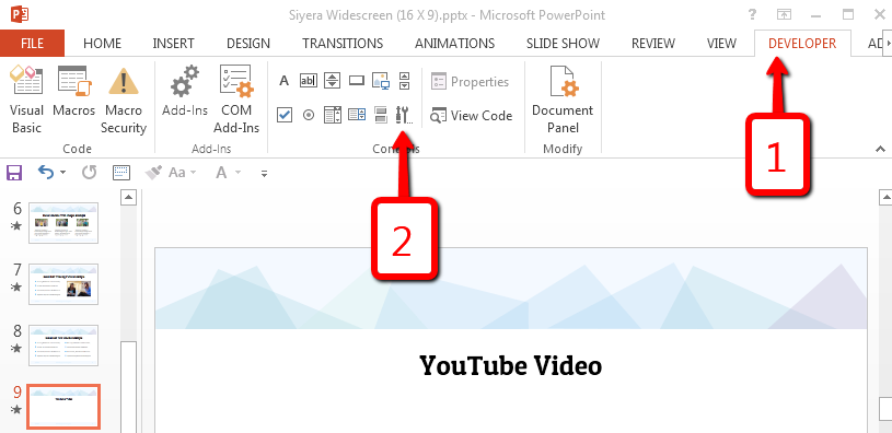 Select More Controls option under the Developer Ribbon - Adding youtube video step 3