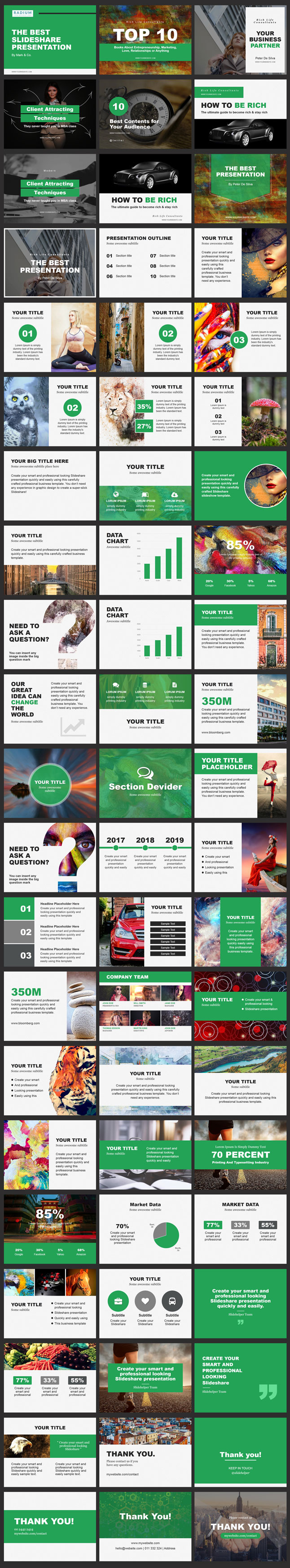 Slideshare ppt green color template