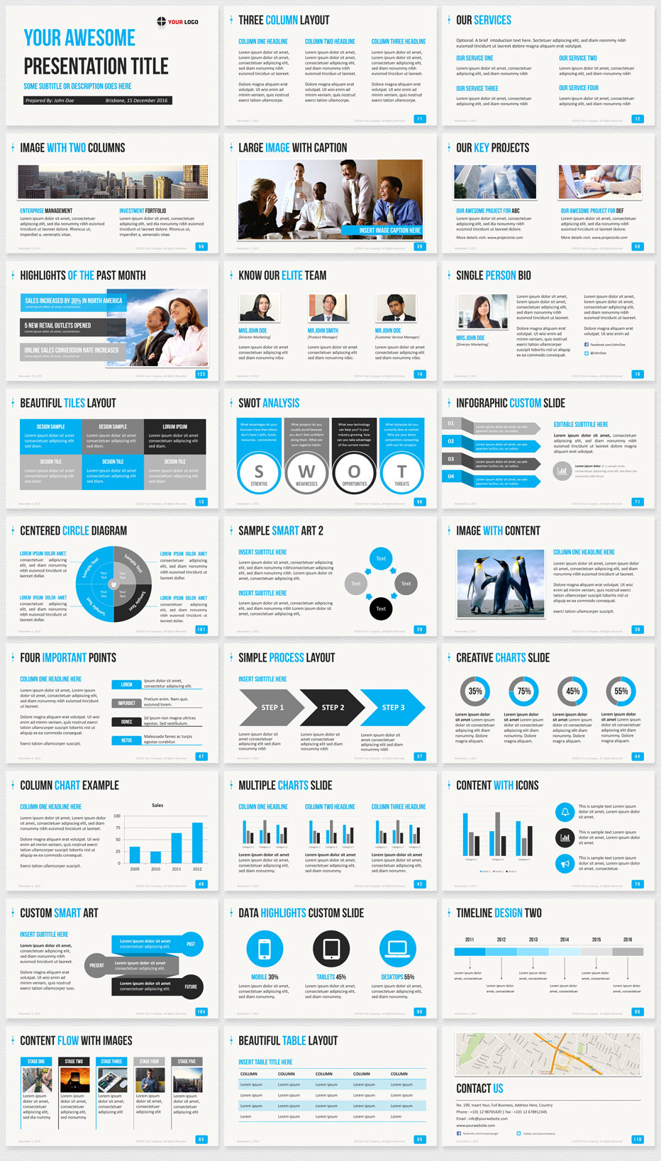 Amazing Business PowerPoint Template Blue Slide Thumbnails Nice Look