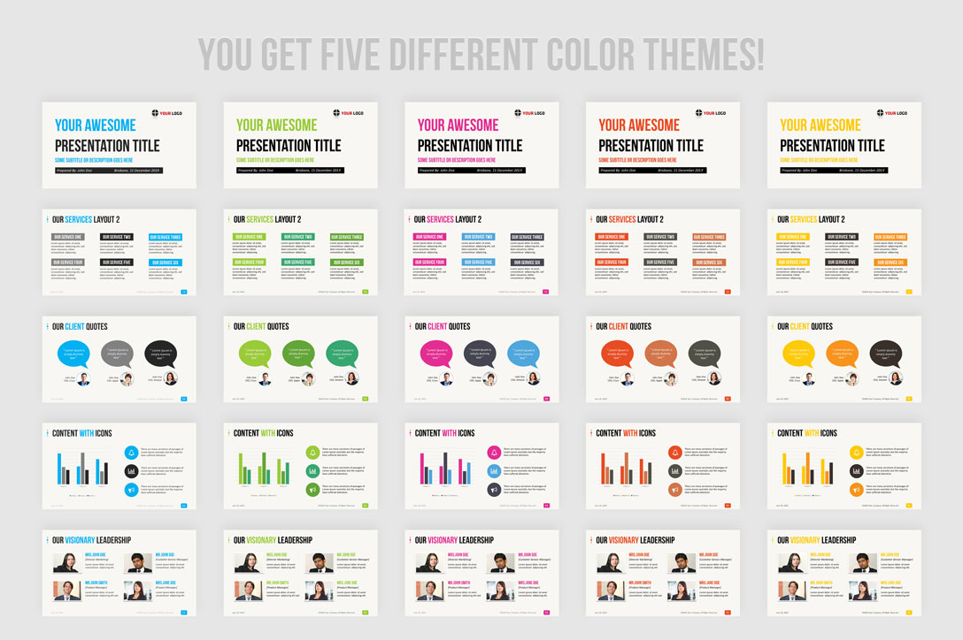 Blue, yellow, green, pink and red presentation themes and templates