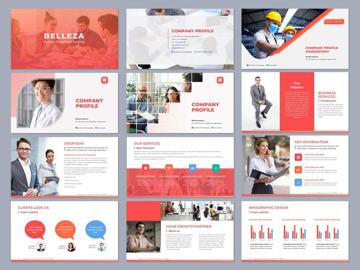 clean powerpoint design red orange