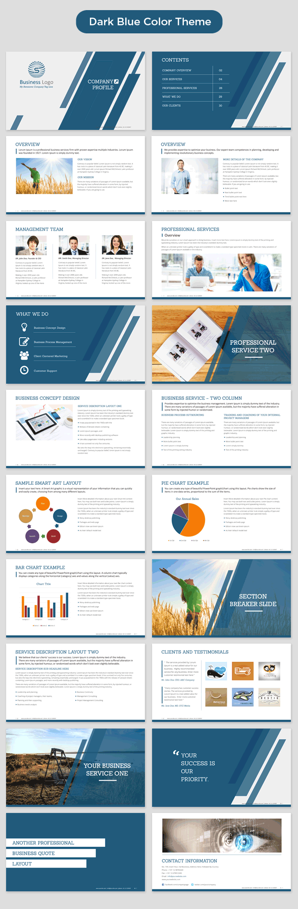 Company profile powerpoint template 350 master slide templates company profile powerpoint template dark blue preview toneelgroepblik Gallery