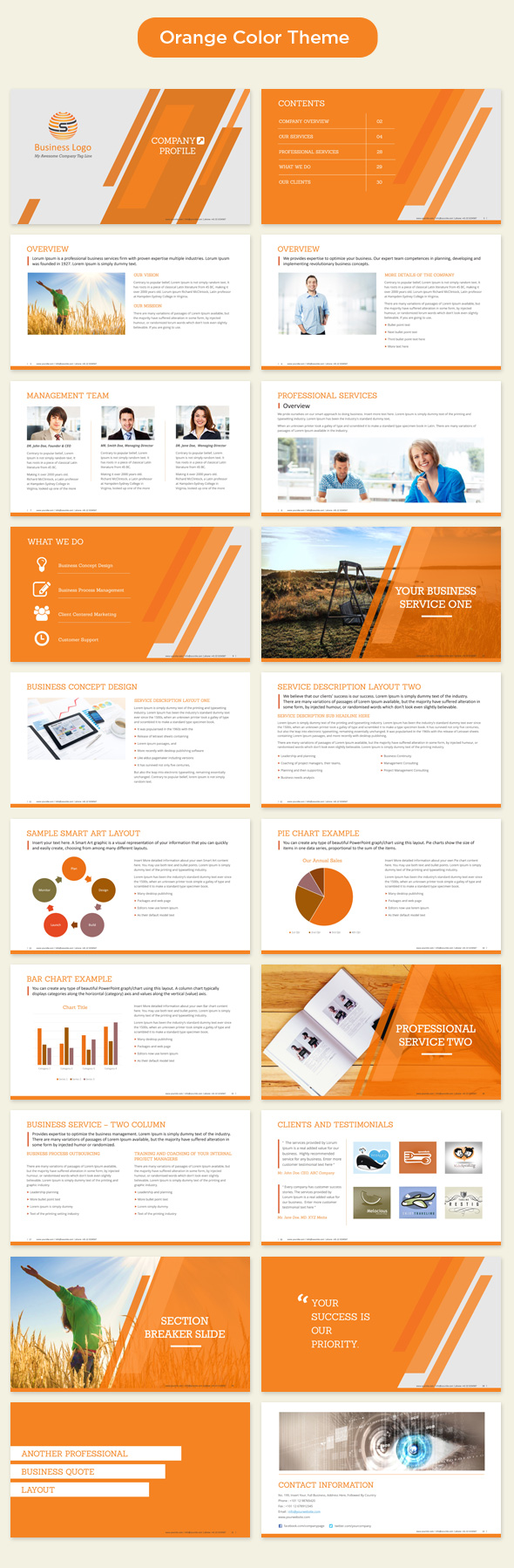 Company Profile Template Powerpoint Orange  Profile Templates