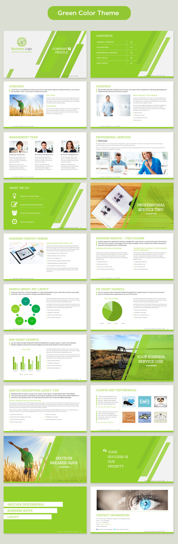 Corporate Profile Powerpoint Template Green  Format Of Company Profile