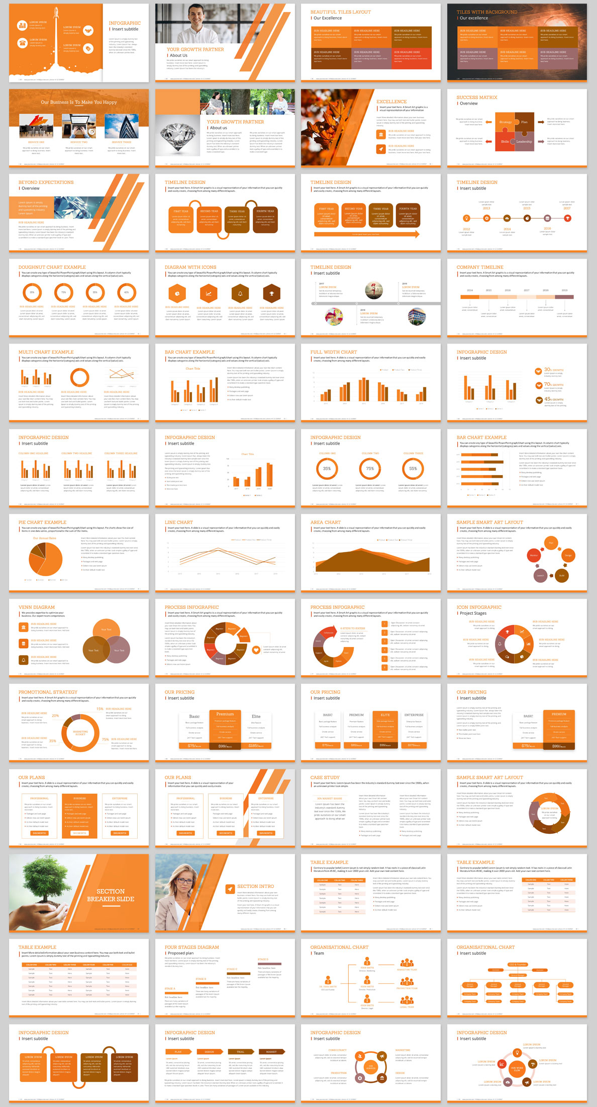 Company profile template ppt design orange color