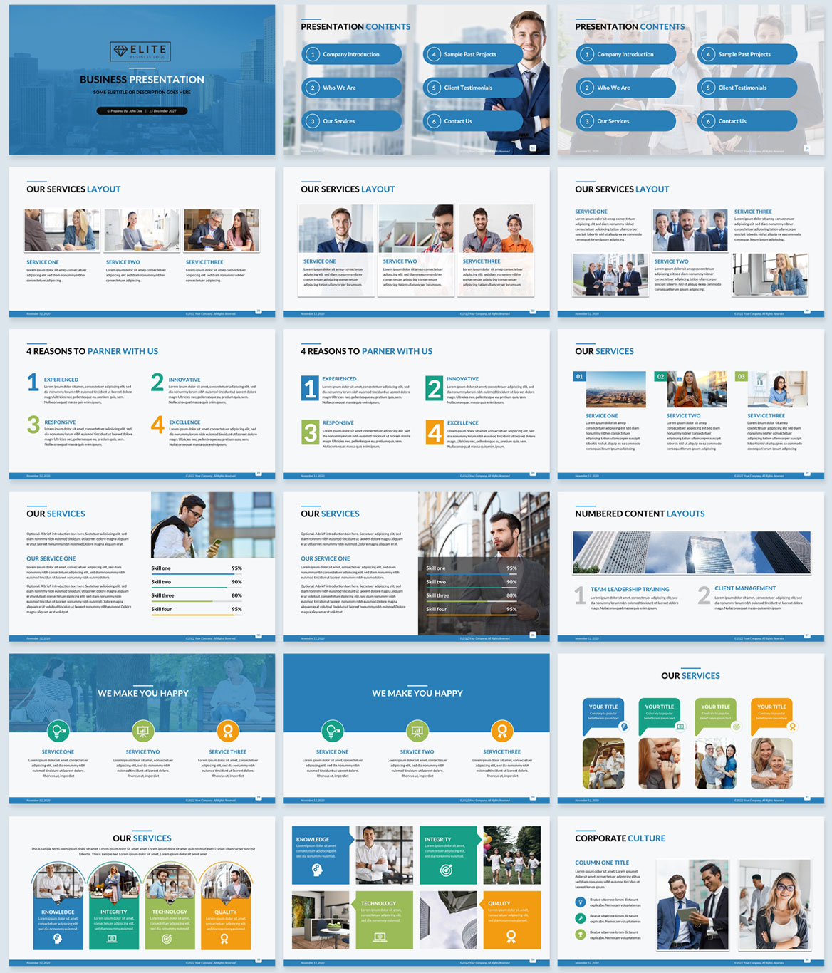 corporate powerpoint presentation blue