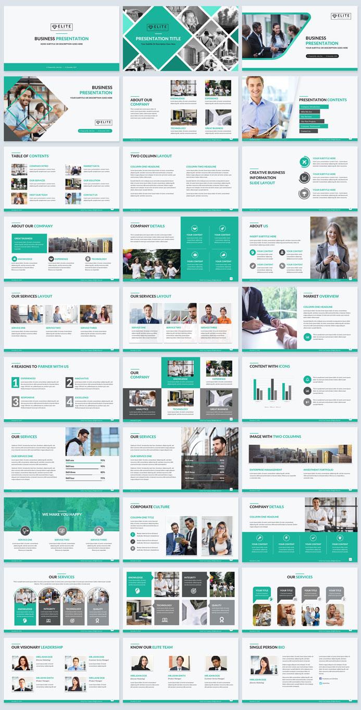 corporate presentation design template green