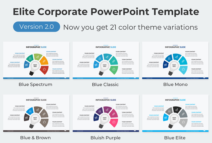 Corporate presentation template PowerPoint blue