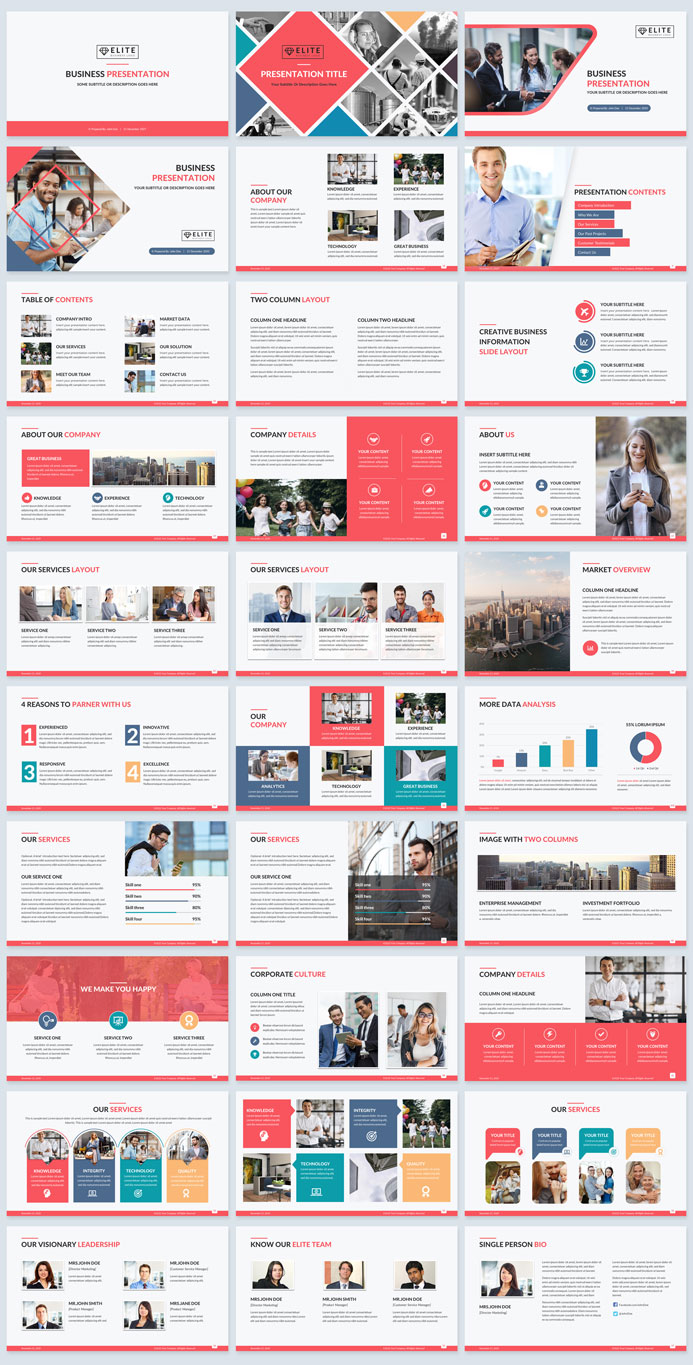 corporate slides template red retro