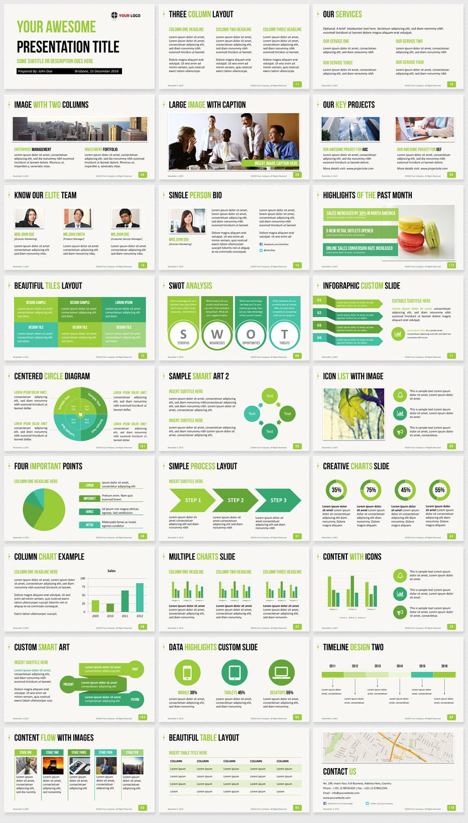 Ultimate professional business powerpoint template 1200 clean slides business powerpoint template green preview toneelgroepblik Gallery
