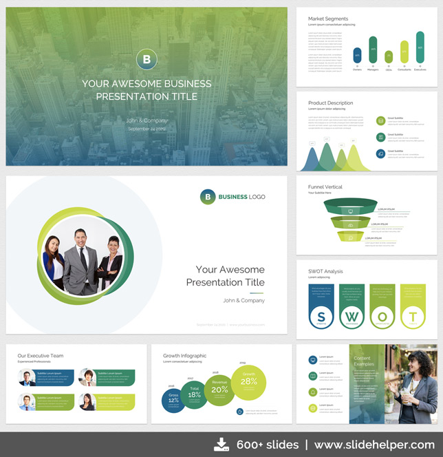 Modern business presentation template PowerPoint theme slides green