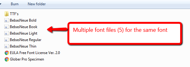 Multiple font files for the same font type