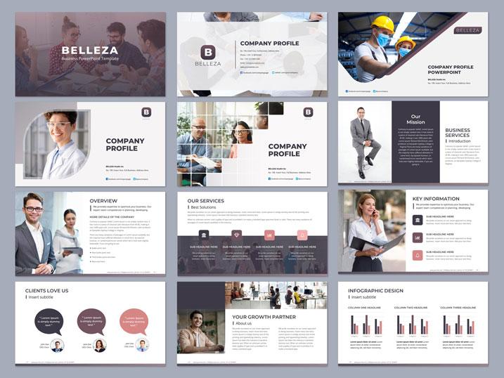 PowerPoint-graphic design purple gray