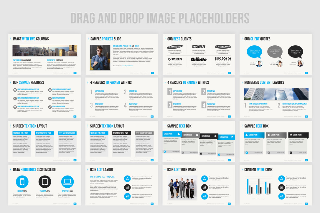 ppt template design to enhance corporate presentations and business profile slides