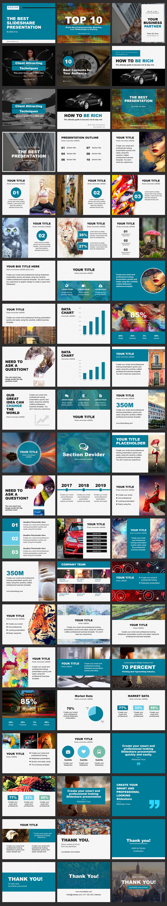 Slideshare PowerPoint template blue color
