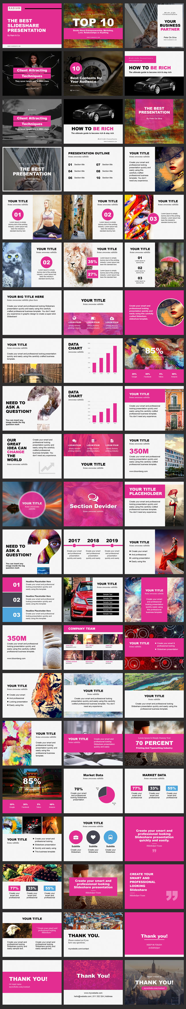 Pink color ppt template for slideshare design