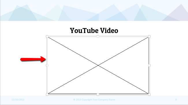 where YOUTUBE video would be embedded - Embed youtube video to PowerPoint step 5