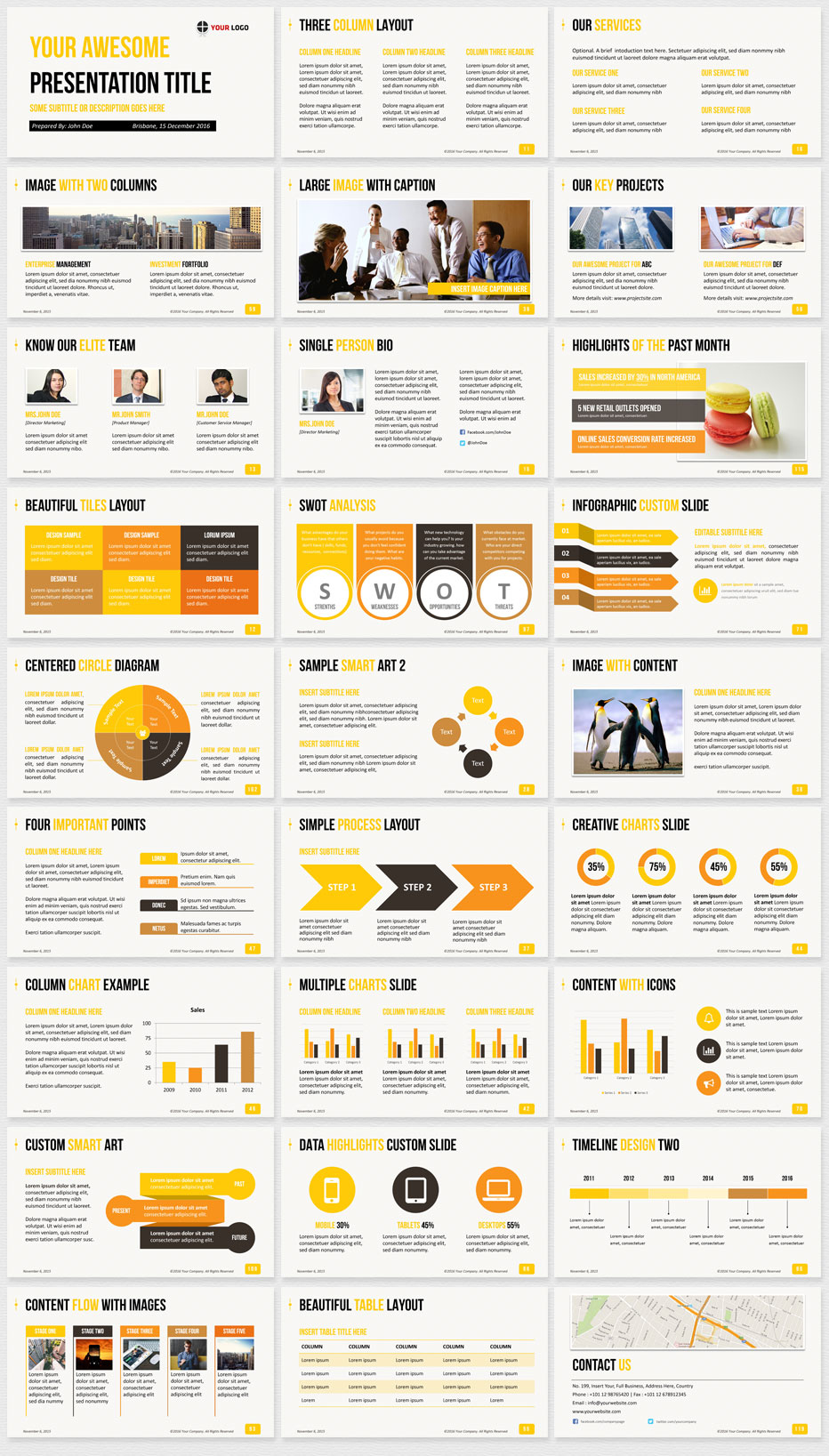 Ultimate professional business powerpoint template 1200 clean slides yellow template preview toneelgroepblik Choice Image